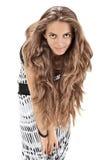 Studioportrait der jungen Dame mit den langen Haaren Stockfotografie