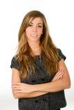 Studioportrait der jungen Frau auf weißem Hintergrund Lizenzfreies Stockfoto