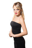 Studioportrait eines jungen Mädchens im schwarzen Kleid Lizenzfreies Stockfoto