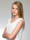 Studioportret van Ernstige Tiener Stock Fotografie