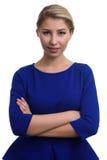 Studioportret van Jonge toevallige vrouw Het mooie glimlachen gelukkig g stock foto's