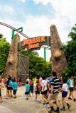 Studios universels Singapour de Jurassic Park @ Photographie stock libre de droits