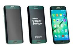 Studioskott av en grön smartphone för kant för Samsung galax S6 alla sidor Royaltyfri Fotografi