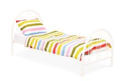 Studioskott av en vit säng Royaltyfria Foton