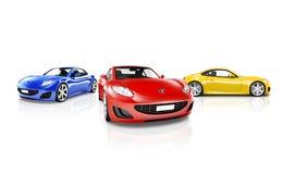 Studioskott av röda blåa och gula sportbilar Royaltyfria Foton