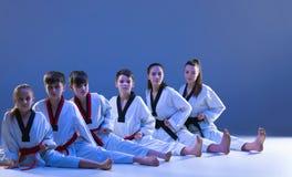 Studioskottet av gruppen av ungar som utbildar karatekampsporter royaltyfria bilder