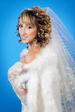 Studiostående av en lycklig brud Royaltyfri Fotografi