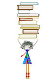 Studious child. Chooses the books in the library Royalty Free Stock Images
