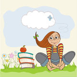 Studious girl sitting barefoot in the grass. S,  illustration Royalty Free Stock Images