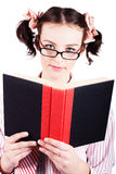 Studious School Student Reading Text Book On White Stock Photo