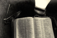 Studious. A studio scene of an old Bible study on a desk Royalty Free Stock Images