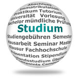 Studium/ Higher education. Ball with different terms relating to higher education in German Royalty Free Stock Images