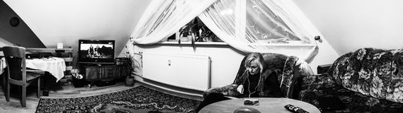Studium in our room. Artistic look in black and white. Royalty Free Stock Image