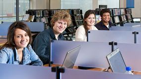 Studiying in cubicles Stock Photo