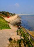 Studland中间海滩多西特英国英国位于在Swanage之间和Poole和伯恩茅斯 库存照片