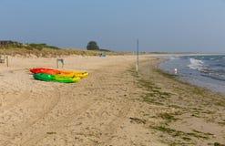 Studland knoll beach Dorset England UK pedalos Royalty Free Stock Photos