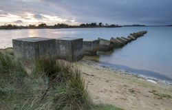 Studland Tank Defence at sunset Royalty Free Stock Photography