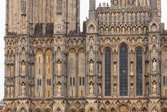 Studnia Katedralny fasadowy szczegół Somerset Południowy Zachodni Anglia UK Obrazy Royalty Free
