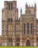 Studnie Katedralny fasadowy Somerset Południowy Zachodni Anglia UK Zdjęcia Royalty Free
