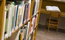 Book Displayed in Library Study Shelved Books Stock Photos