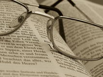Study. Shot of a book and spectacles royalty free stock photos