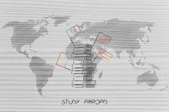 Study abroad world map overlay with pile of books with flags Stock Photo
