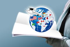 Study abroad concept design. Of Young woman open book and world education with national flag Stock Photography