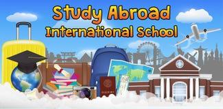 Study abroad international school banner poster. A study abroad international school banner poster Vector Illustration