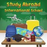 Study abroad international school banner poster. A study abroad international school banner poster Royalty Free Illustration