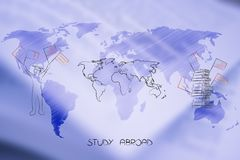 Study abroad student next to world map and pile of books with fl Royalty Free Stock Photos