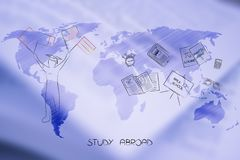 Study abroad world map overlay with student with flags and schoo Stock Photo