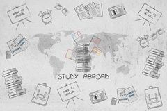 Study abroad world map surrounded by mixed school items and pile Royalty Free Stock Photography