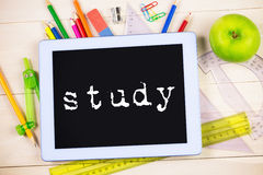 Study against students table with school supplies Stock Image