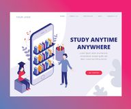 Study Anytime Anywhere through mobile phone Isometric Artwork Concept. Isometric Artwork Concept of Study Anytime Anywhere with the help of online classes vector illustration