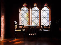 Study arched windows and captains chaor Stock Images