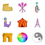 Study of art icons set, cartoon style Royalty Free Stock Images