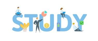 study Begrepp med folk, bokst?ver och symboler Plan vektorillustration bakgrund isolerad white stock illustrationer