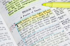 Study Bible. Psalms scripture highlighted with notes Stock Photos