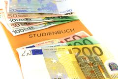 Study book with euro notes Stock Image