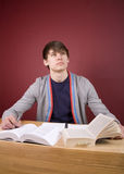 Study Break. Young man studying in a home environment Royalty Free Stock Photos