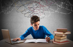 Study with computer and books Stock Photos