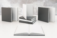 Study concept with opened book with blank white pages and other. Books on white table, mock up, 3D render Stock Photo