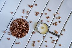 The study of consumer qualities of food and beverages. Analysis of roasted coffee beans. View from above stock photo