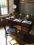 Study and desk in castle from 18th century stock photography