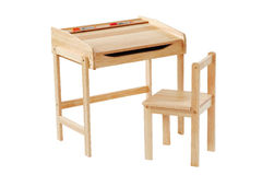 Study desk. Kid study desk and chair isolated with clipping path Royalty Free Stock Images