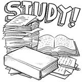 Study education sketch. Doodle style school study illustration in vector format. Includes title text, pile of papers, and books Stock Photos
