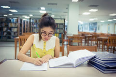 Study education, woman writing a paper Stock Image