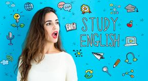 Study English theme with young woman. On a blue background Stock Photo