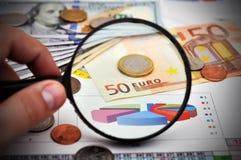 Study of Euro coin Royalty Free Stock Photos
