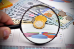 Study of Euro coins Stock Photography